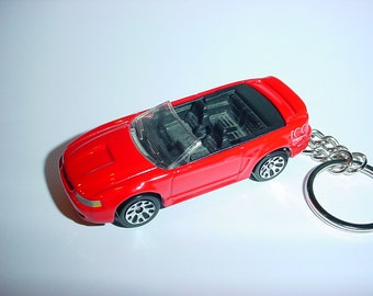 D  Ford Mustang Gt Convertible Custom Keychain By Brian Thornton Keyring Key Chain Finished In Red Color Trimcast Metal Body