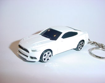 D  Ford Mustang Gt Custom Keychain By Brian Thornton Keyring Key Chain Finished In White Color Trimcast Metal Body