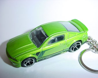 D  Ford Mustang Gt Custom Keychain By Brian Thornton Keyring Key Chain Finished In Green Color Trimcast Metal Body