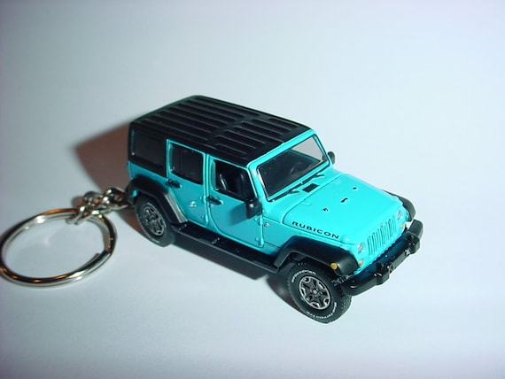 3D 2016 Jeep Wrangler Rubicon custom keychain by Brian Thornton keyring key chain finished in white color factory trim 4x4 offroad truck