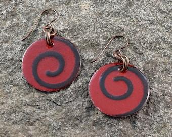 Torch fired Swirl enamel earrings