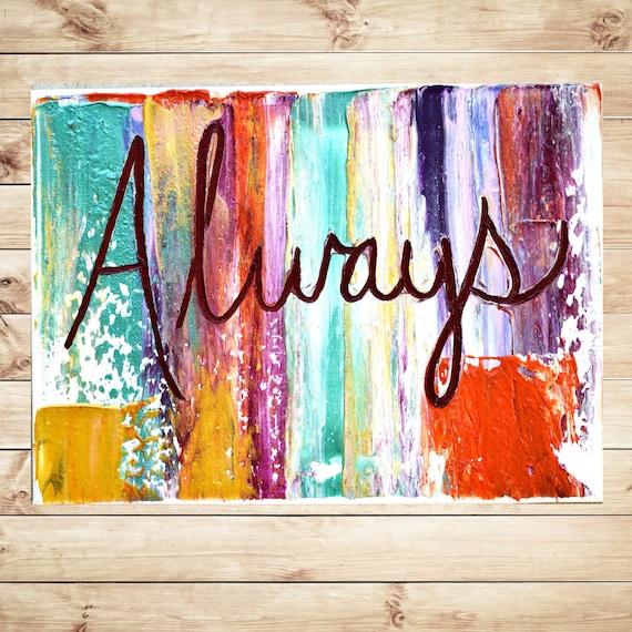 Always Inspirational Quotes On Canvas Orange Purple Etsy