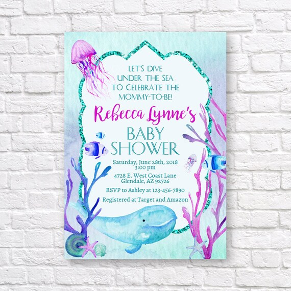 Under the sea baby shower invitation ocean baby shower etsy image 0 filmwisefo