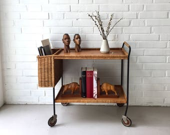 Vintage trolley, trolley vintage, rattan side table, trolley teak, Midcentury interior