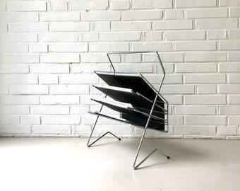 Vintage Magazine stand, mid century newspaper rack, magazine stand, vintage interior, newspaper rack, mid modern design