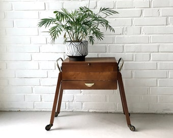 600cbbf01 Vintage sewing box, sewing box wood, side table mid century, sewing basket,  roller cart, jewelry box, sewing utensils