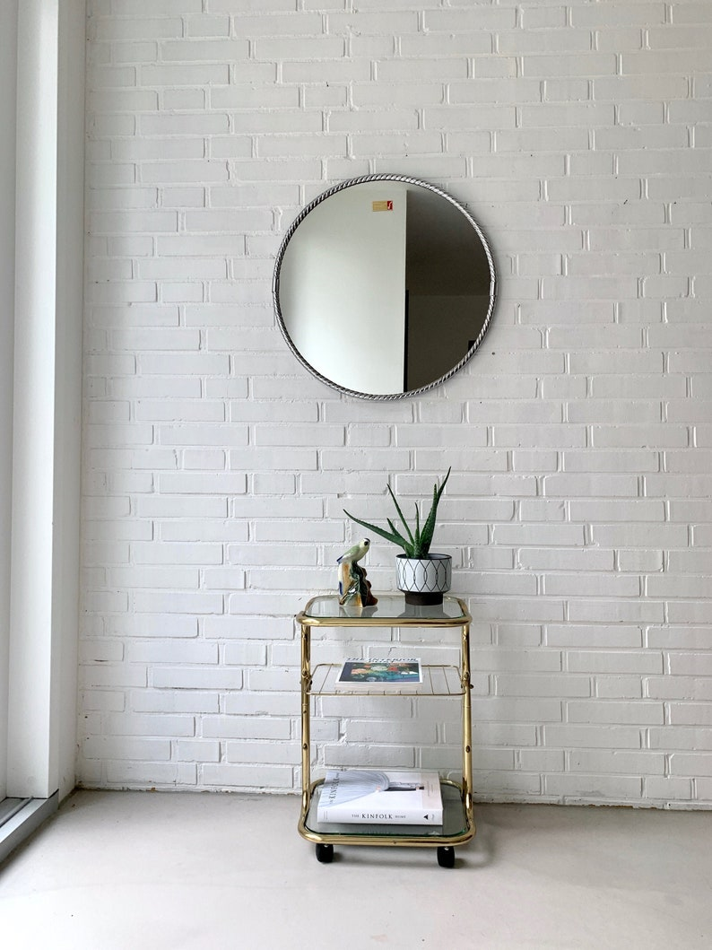 Mid Century Mirror Silver Bathroom Mirror Vintage Round Mirror Hallway Mirror Midcentury Modern