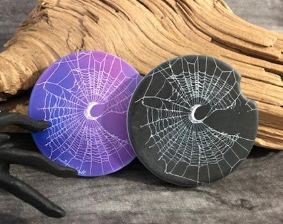 Car Coasters, Spider Web Coasters, Spider Web, Sandstone Unique Coasters, Gothic Car Decor, Crescent moon, Halloween Decor, Automotive