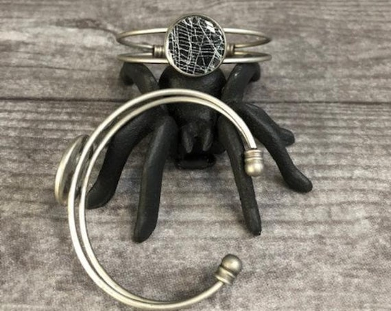 Spider Web Cuff Bracelet, Spider Web Jewelry, Halloween Jewelry, Silver Cuff