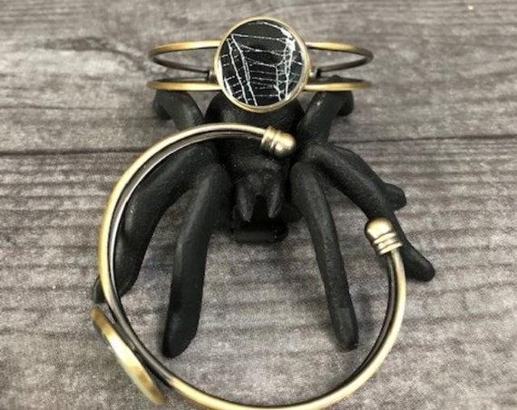 Spider Web Cuff Bracelet, Spider Web Jewelry, Halloween Jewelry, Bronze Cuff