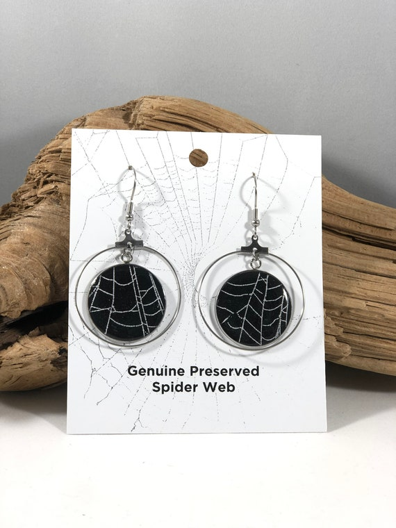 Spider Web Earrings, Spider Web Jewelry, Real Spider Web Jewelry, Real Spider Web, Preserved Spider Web, Spider Web Earrings