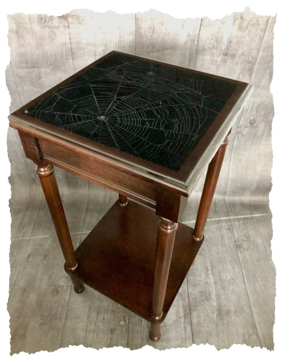 Dark Decor, Spider Web Table, Real Preserved Spider Web, Gothic Furniture, Gothic Table, Spider Web, Witchy Decor, Accent Table