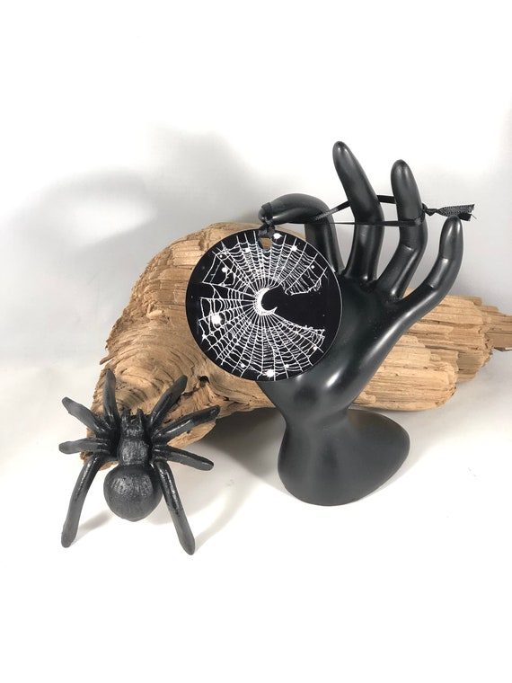 Christmas Ornament, Crescent Moon,  Spider Web Ornament, HALLOWEEN Ornament, Gothic, CobWeb, Spooky Ornament