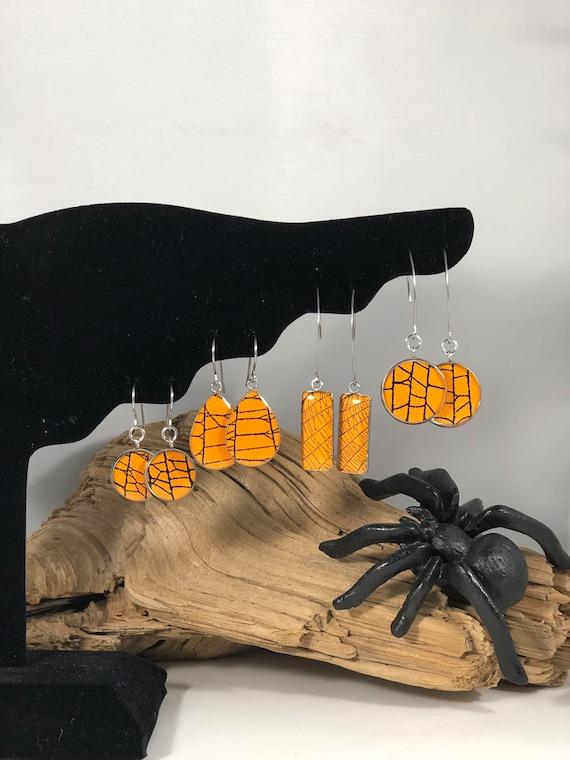 Halloween Earrings, Spider Web Earrings, Spider Web Jewelry, Real Spider Web, Real Spider Web, Preserved Spider Web, Halloween Jewelry