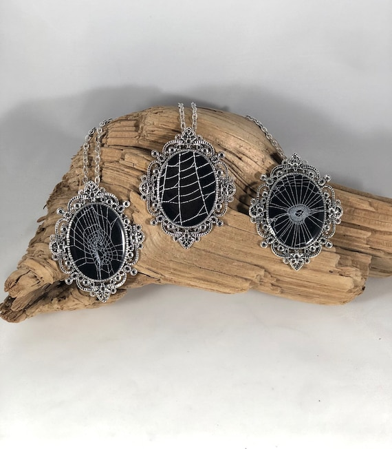 Spider Web Necklace, Spider Web Pendant, Victorian Necklace,  Statement Pendant, Real Spider Web, Preserved Spider Web, Spider Web Jewelry