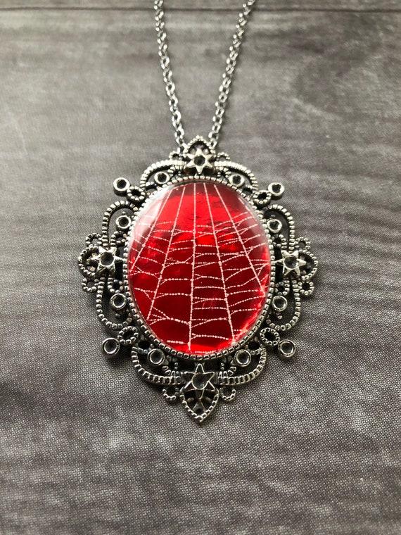 Spider Web Necklace, Spider Web Pendant, Gothic Necklace,  Statement Pendant, Real Spider Web, Preserved Spider Web, Real Spider Web Jewelry