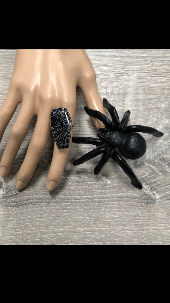Coffin Ring, Spider Web Ring, Real Spider Web, Spider Web Jewelry, Gothic Ring, Sterling Silver Coffin Ring, SpiderWeb Design Ring, Cobweb