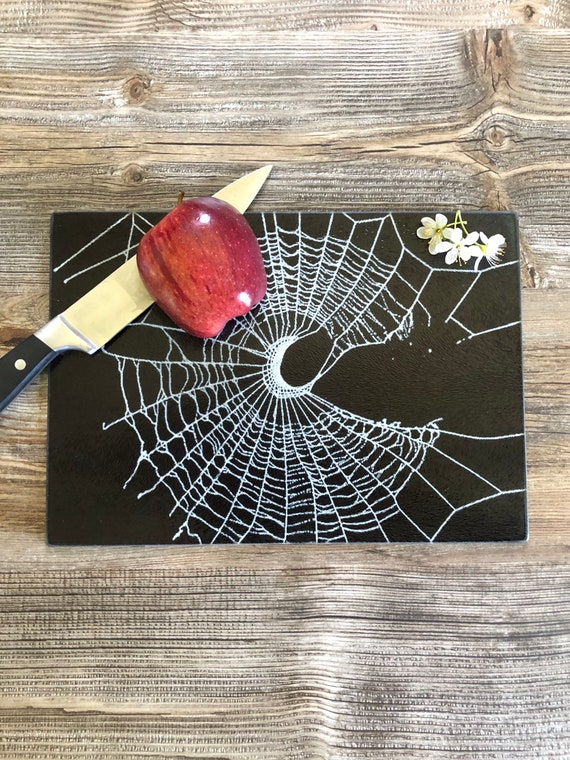 Glass Cutting Board, Gothic Home Decor, Spider Web Decor, Gothic Kitchen Decor
