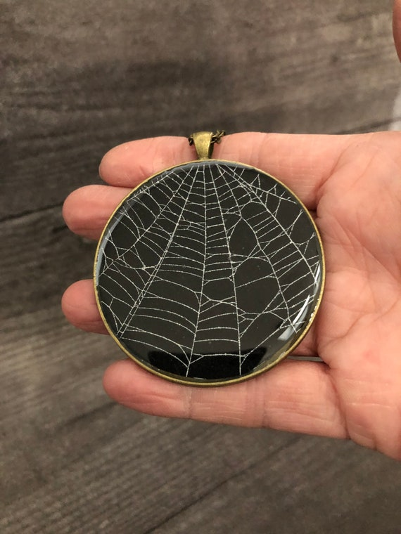 Spider Web Necklace, Spider Web Pendant, Gothic Necklace,  Halloween Pendant, Real Spider Web, Spider Web Jewelry, Gothic Jewelry