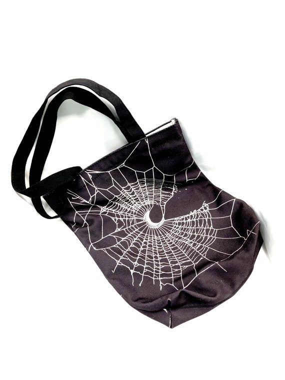 Tote Bag, Spider Web Design, Black Bag, Gothic Bag, Crescent Moon Design, HALLOWEEN Bag, Reusable