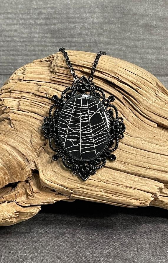 Spider Web Necklace, Spider Web Pendant, Victorian Necklace, Gothic Pendant, Real Spider Web, Preserved Spider Web, Spider Web Jewelry