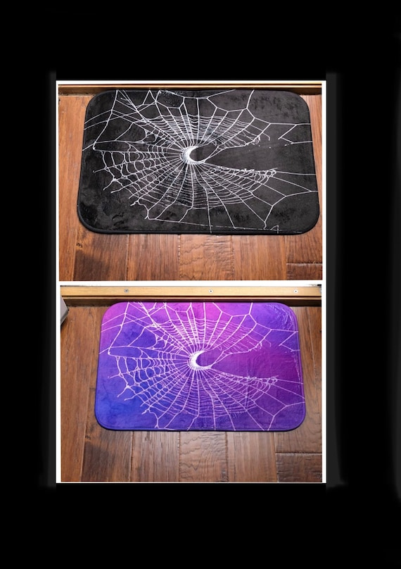 Bath Mat, Gothic Home Decor, Black Rug, Spider Web Decor, Moon Rug, Witch Decor, Shower Mat, DoorMat