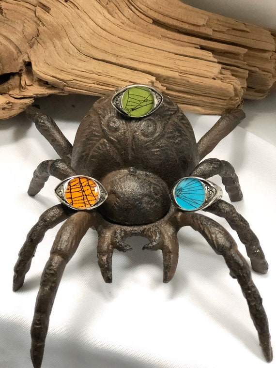 Spider Web, Spider Web Jewelry, Real Spider Web Ring, Gothic Ring, Real Preserved Spider Web, Spider Web Jewelry, Evil Eye Ring