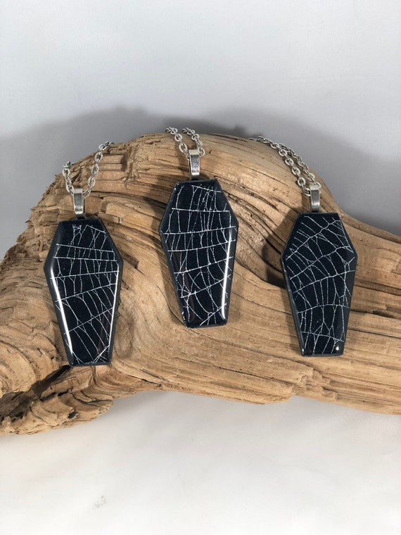 Real Spider Web, Spider Web Jewelry, Spider Web Necklace, Macabre Jewelry, Coffin Necklace, Spider Necklace, Gothic Jewelry