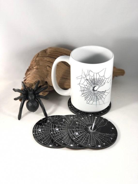 Coasters, Spider Web Coasters, Spider Web, Unique Coasters, Halloween Coasters, Crescent moon, Halloween Decor