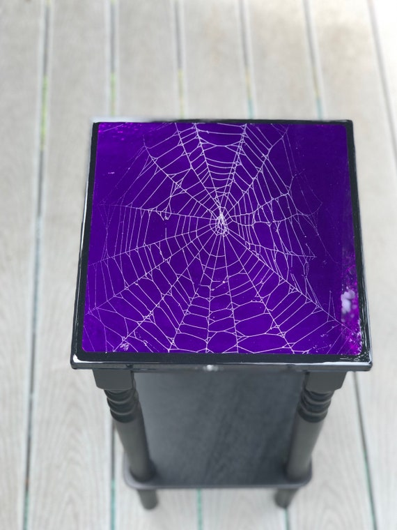Accent Table, Spider Web Table, Real Preserved Spider Web, Gothic Furniture, Gothic Table, Spider Web