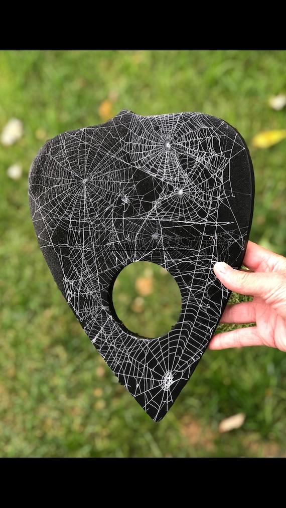 Ouija Board, Planchette, Real Spider Web, Macabre, Halloween Decor, GothicHome Decor