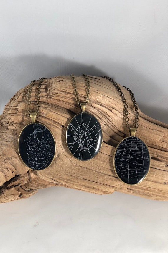 Spider Web Necklace, Spider Web Pendant, Spider Web Jewelry, Real Spider Web Necklace, Preserved Spider Web, Real Spider Web