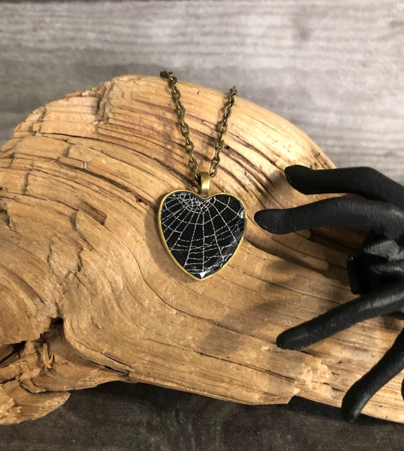 Heart Pendant, Spiderweb Pendant, Cobweb Necklace, Heart shaped Necklace, Real Spider Web Necklace