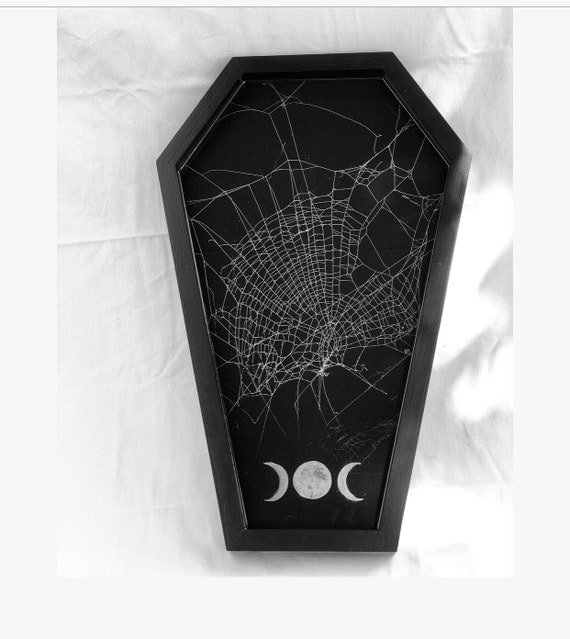 Real Spider Web, Serving Tray, Spider Web Decor, Gothic Home Decor, Coffin Tray, Coffin Spider Web Tray, Preserved Spider Web
