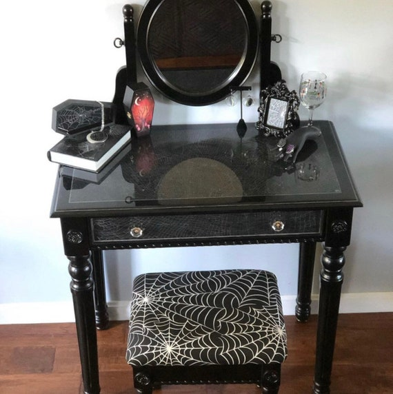 Vanity, Preserved Spider Web, Gothic Vanity, Black Vanity, Makeup Vanity, Gothic Home Decor
