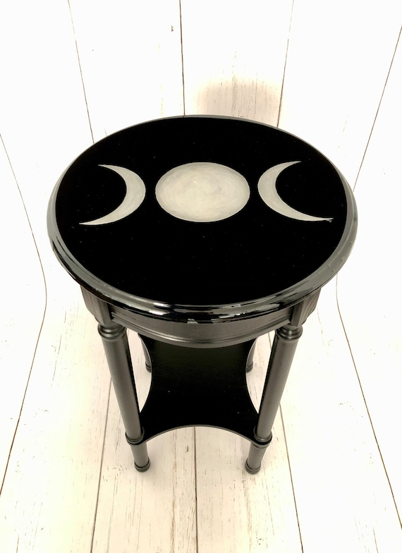 Dark Decor, Crescent Moon, Gothic Furniture, Gothic Table, Witchy Decor, Accent Table, Triple Moon