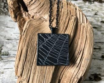 Spider Web Necklace, Spider Web Pendant, Gothic Necklace,  Halloween Pendant, Real Spider Web, Preserved Spider Web