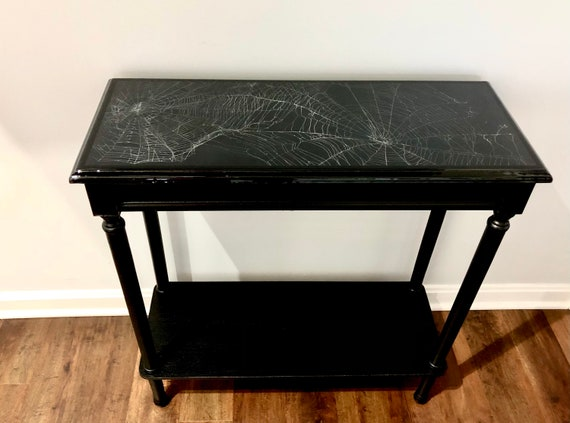 Dark Decor, Spider Web Table, Real Preserved Spider Web, Gothic Furniture, Gothic Table, Spider Web,Witchy Decor, Accent Table, Sofa Table