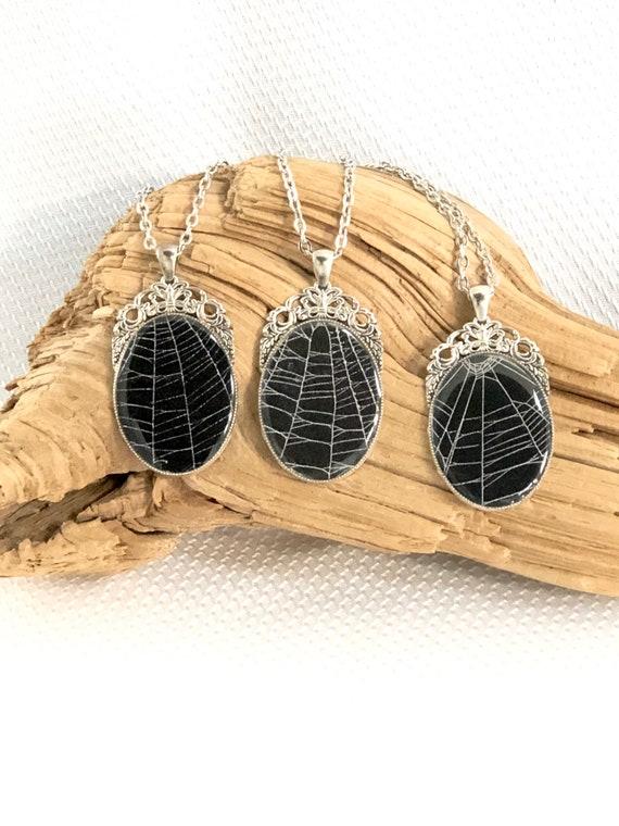 Halloween Jewelry, Spider Web Necklace, Spider Web Pendant, Gothic Jewelry, Gothic Necklace, Spider Taxidermy