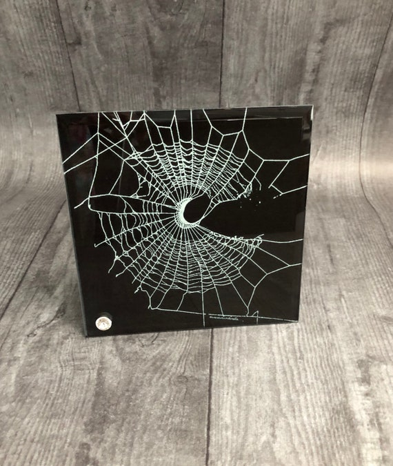 Spider Web Design, Decorative Tile, Glass Tile, Gothic Decor, CrescentMoon Design