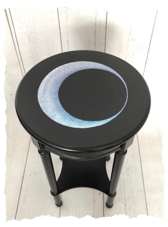 Dark Decor, Crescent Moon, Gothic Furniture, Gothic Table, Witchy Decor, Accent Table, Blue Moon