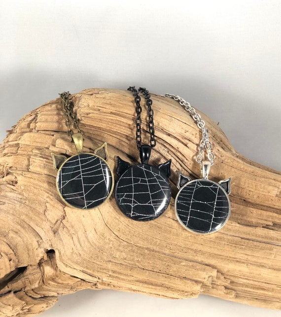 Halloween Necklace, Black Cat Necklace, Spider Web Jewelry, Kitty Necklace, Cat Necklace, Cat Pendant, Spider Web Necklace
