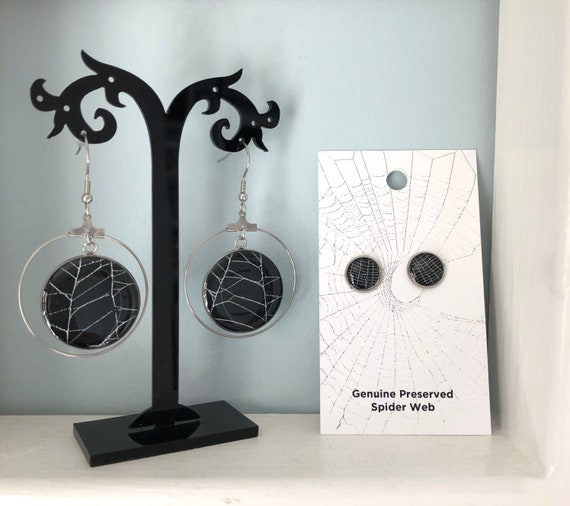 Spider Web Earrings, Halloween Earrings, Gothic Earrings, SpiderWeb Jewelry, Real Spider Web, Earrings from Nature, Spiderweb