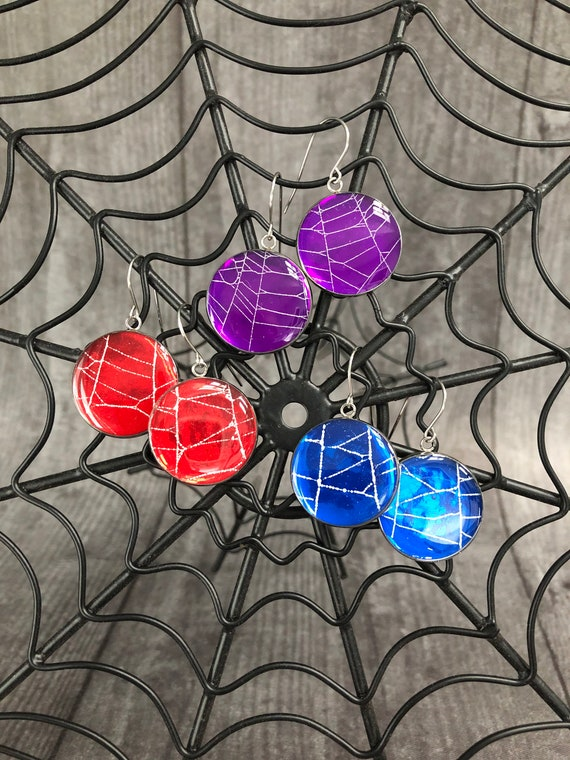 Earrings , Spiderweb Earrings, Halloween Earrings, Gothic Earrings, Spiderweb Jewelry, Real Spiderweb, Earrings from Nature