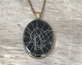 Spider Web Necklace, Spider Web Pendant, Bronze Oval Pendant, Gothic Necklace,  Halloween Pendant, Real Preserved Spider Web