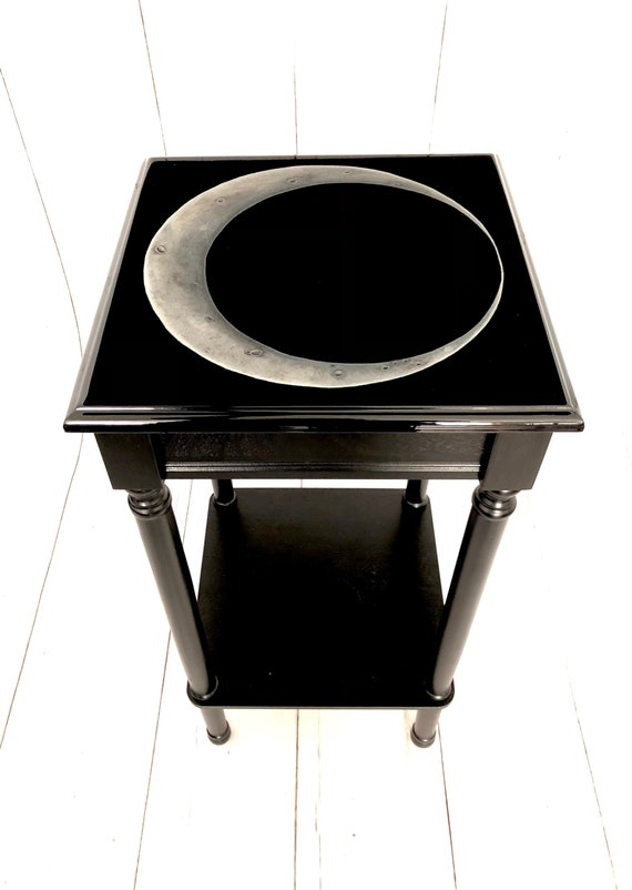 Dark Decor, Crescent Moon, Gothic Furniture, Gothic Table, Witchy Decor, Accent Table, Glows in the Dark