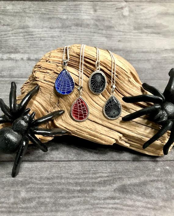 Halloween Jewelry, Real Spider Web, Gothic Jewelry, Spooky Jewelry, Witchy Jewelry,Valentine's Day, Sterling Silver