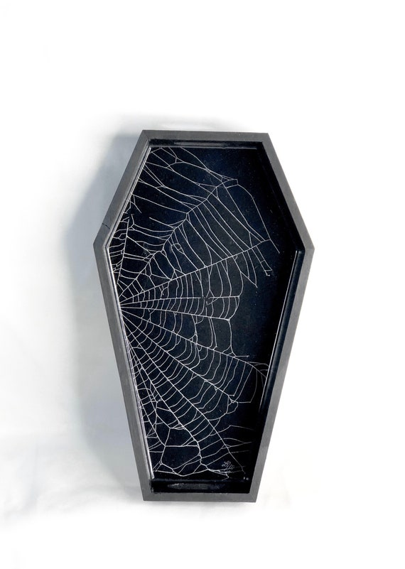 Coffin Box, Trinket Box, Real Spider Web, Preserved Spider Web, Coffin Tray