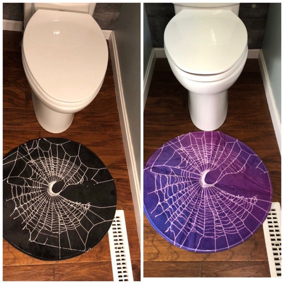 Bath Mat, Gothic Home Decor, Black Rug, Spider Web Decor, Moon Rug, Witch Decor, Shower Mat, DoorMat