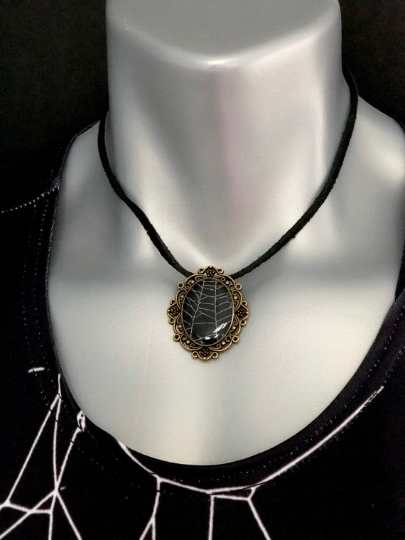 Halloween Jewelry, Spider Web Necklace, Spider Web Pendant, Gothic Jewelry, Gothic Necklace, Spider Taxidermy